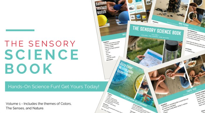 The sensory science book - includes the themes of colors, the senses and nature.