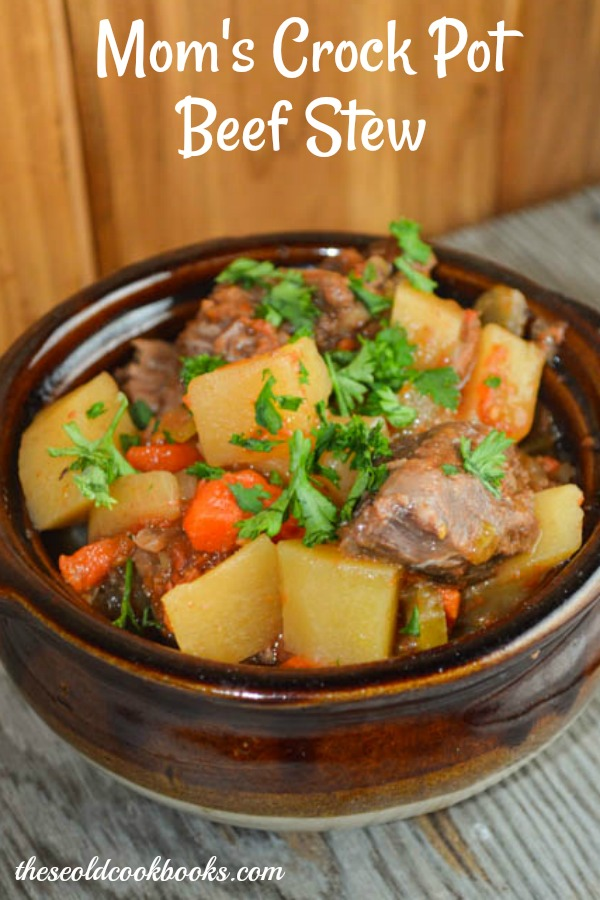 Moms Crock Pot Beef Stew is a hearty mix of beef and vegetables.