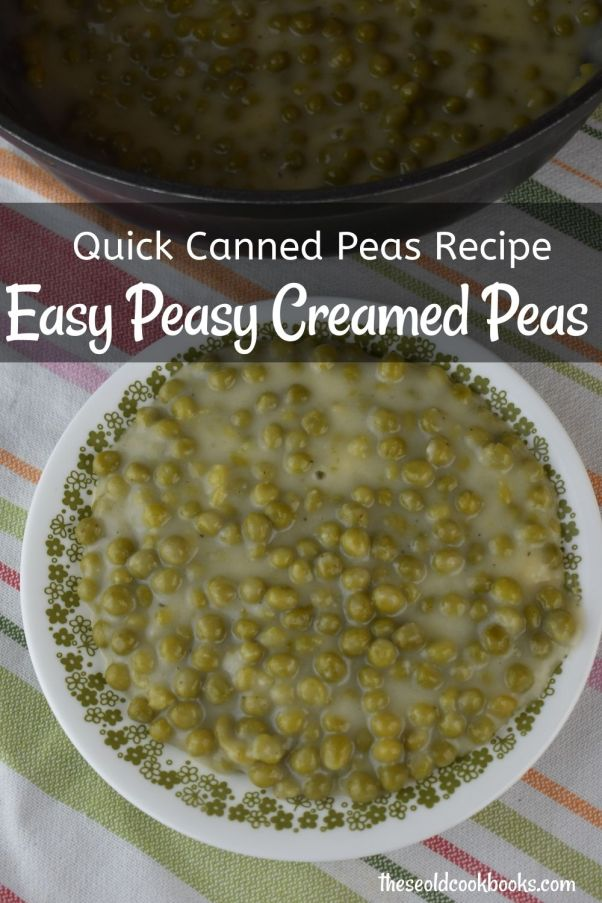Creamed Peas using Canned Peas may not be fancy, but it's fast, economical, easy, and my kids love them. All it takes is a can of green peas, butter, flour, milk, salt and pepper.