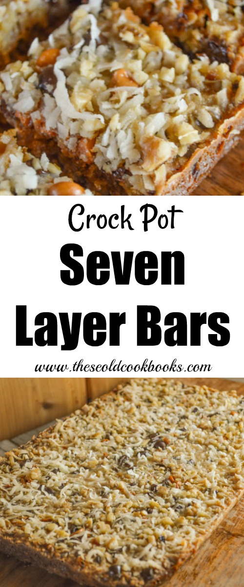 You can essentially dump in all of the ingredients, walk away, and come back to perfectly baked Crock Pot Seven Layer Bars.