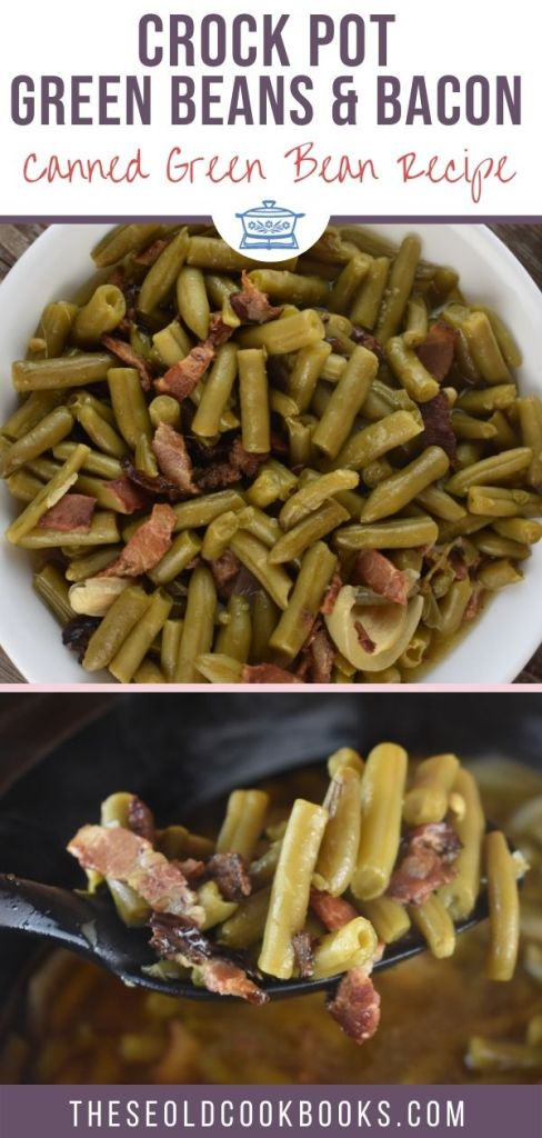 These Crock Pot Green Beans with bacon and onions are easy to make for a crowd. A work pitch-in, family reunion or holiday dinner is not complete without this iconic side dish.