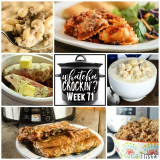 Whatcha Crockin' Wednesday Week 71 features so many great slow cooker recipes, including Slow Cooker Cheesy Ravioli Casserole.