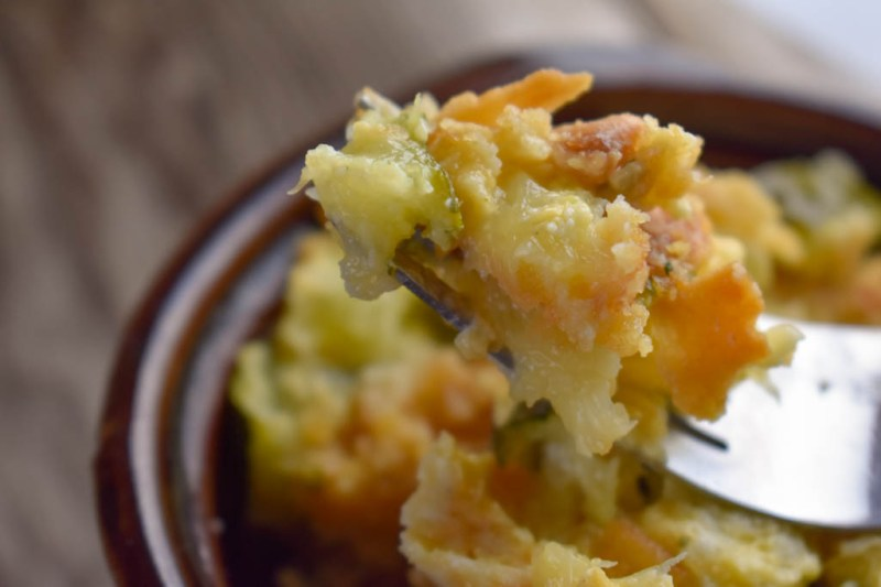 Cheesy Summer Squash and Zucchini Casserole uses the gobs and gobs of zucchini and summer squash from the summer gardens.