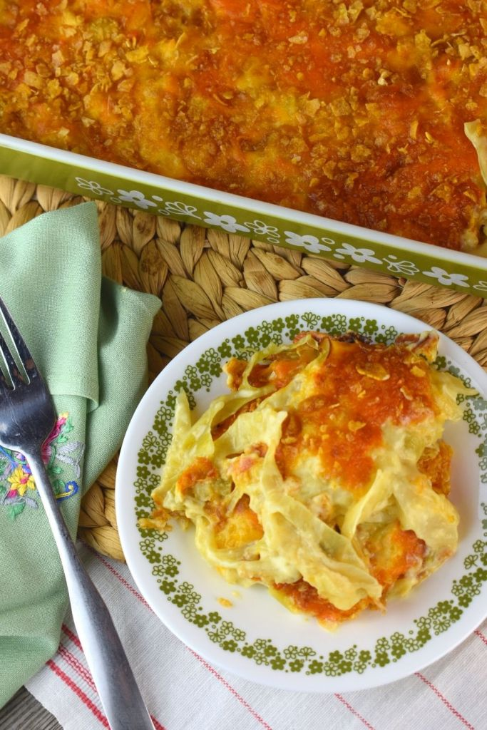 Old-Fashioned Cheesy Cabbage Casserole recipe features a list of common ingredients for easy prep.