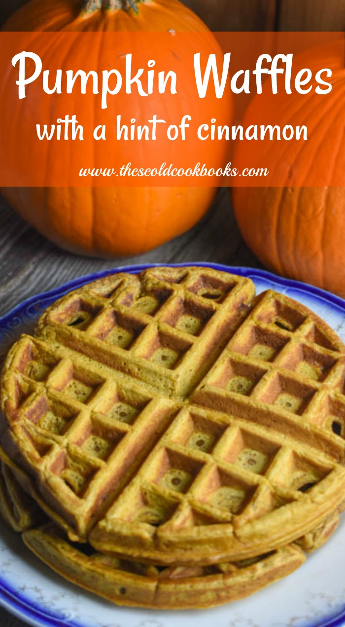 These fluffy Pumpkin Waffles with a hint of cinnamon are the perfect fall breakfast treat.