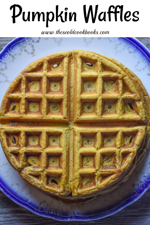 These pumpkin waffles have a hint of cinnamon making them the perfect fall breakfast or brunch dish.