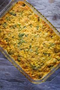Cheesy Broccoli Rice Casserole is one of those dump, mix and bake dishes.