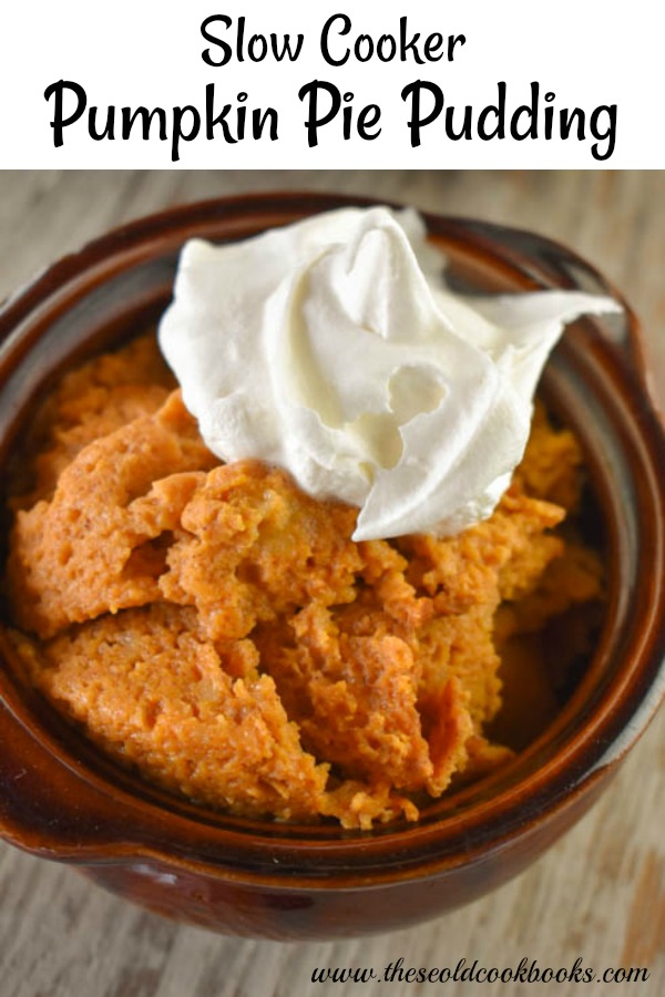 Slow Cooker Pumpkin Pie Pudding is a great mix and cook dessert option for the holidays.