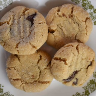 Salted Peanut Butter Cookies with Chocolate Chunks are a perfectly soft peanut butter cookie with a salty coating that complements the big chocolate chunks inside.