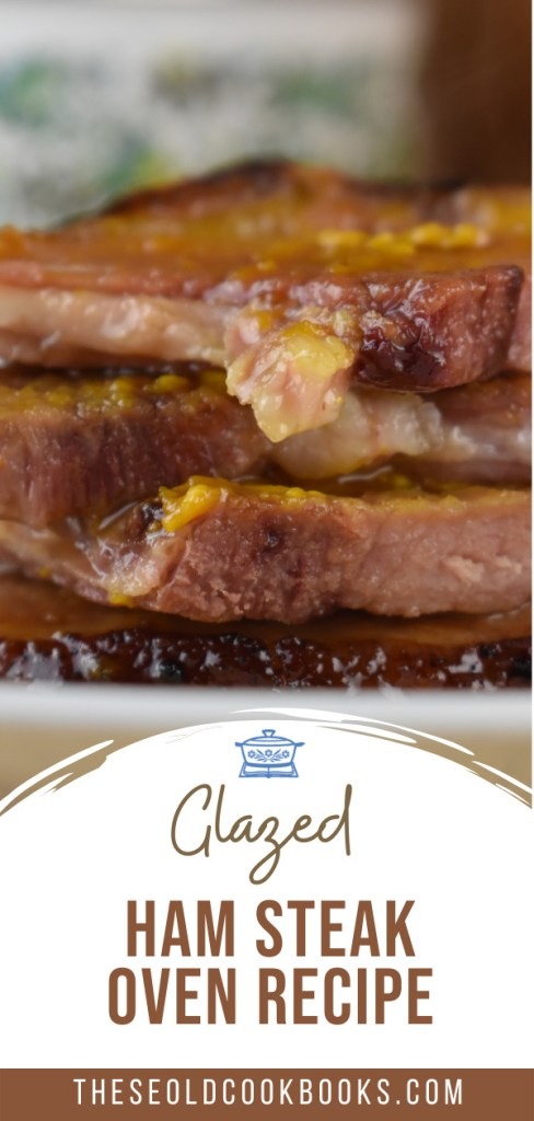 Simply broil your ham steak in the oven and top with mustard and brown sugar to make this Brown Sugar Mustard Glazed Ham Steak.