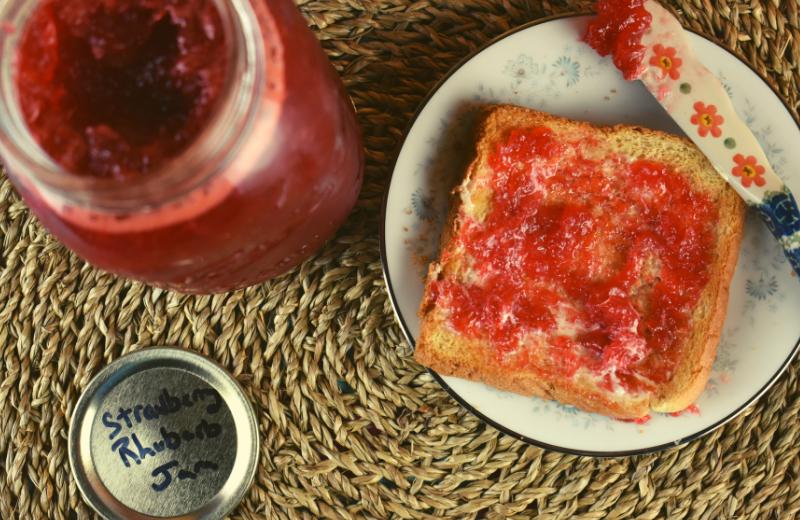 Strawberry Rhubarb Jam with Jello Recipe - These Old Cookbooks