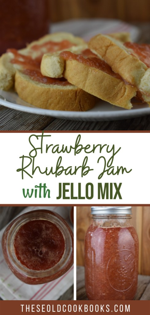 This three ingredient Strawberry Rhubarb Jam with Jello is the perfect way to make a yummy refrigerator jam in less than 15 minutes. This flavorful jam is pectin-free and goes perfectly on toast or ice cream.