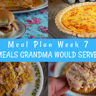 The Weekly Meal Plan for Week 7 includes Brown Sugar Crock Pot Spiral Ham, Ranch Cauliflower Salad, Baileys Milk, Maple Sausage Pigs in a Blanket, Mom's Poppyseed Bread, Ham Salad Sandwich Spread, Leftover Ham and Noodle Casserole, Tangy Wilted Kale and Bacon,  Easy Taco Salad, Make Ahead Ham and Cheese Quiche, 3 Ingredient Chicken Salad, Spicy Roasted Zucchini, Instant Pot Ham and Beans and Sweet Cornbread.