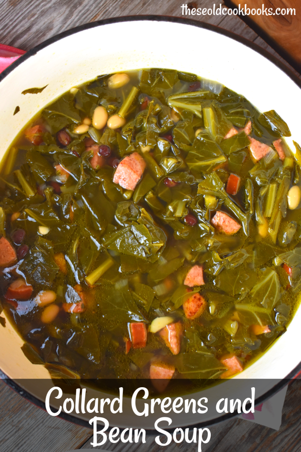 Collard Greens and Bean Soup is a new spin on those classic southern collard greens.  The addition of kielbasa, black beans and Great Northern beans make this healthy vegetable into a full meal.