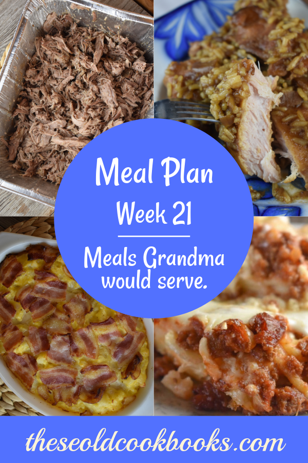 The Weekly Meal Plan for Week 21 includes Oven Pulled Pork, Cheesy Potatoes with Bacon, Hard Blackberry Lemonade, Pumpkin Waffles, Cheesy Egg Casserole, Crock Pot French Onion Pork Chops and Rice, Sheet Pan Fajitas, Bologna Salad, Spicy Roasted Zucchini, Mom's Slow Cooker Beef Stew, Spaghetti Pie and Chocolate Zucchini Bread with Mocha Glaze.