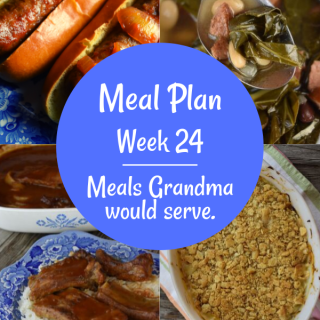 The Weekly Meal Plan for Week 24 includes Mom's Oven Baked Pork Ribs, Crock Pot Calico Beans, Amaretto French Toast, Zucchini Quiche, Easiest Grilled Chicken Ever, Luscious Lettuce Cups, 4 Ingredient Cabbage Casserole, Crock Pot Taco Soup, Collard Greens and Bean Soup, Crock Pot French Dip, French Onion Rice Casserole, Crock Pot Brats, Ranch Cauliflower Salad, and Pumpkin Crunch Cake.