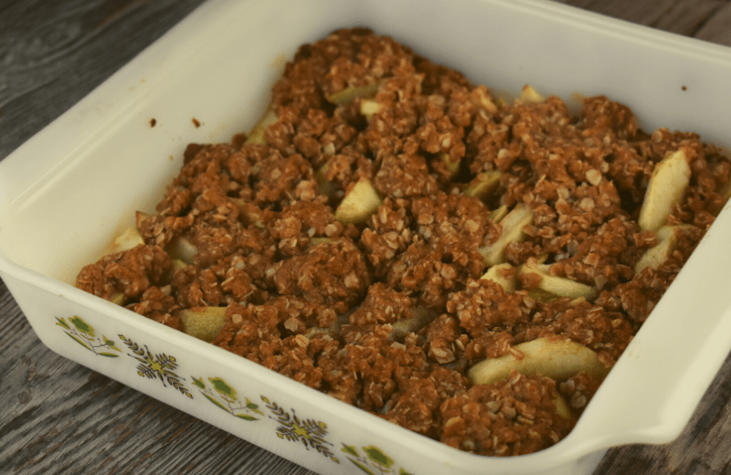 This Old-Fashioned AppleC rumble with Oat Topping has the flavor of butter, cinnamon, brown sugar and apples.  This dessert is one your grandma made back in the day and will still have your family begging for more.