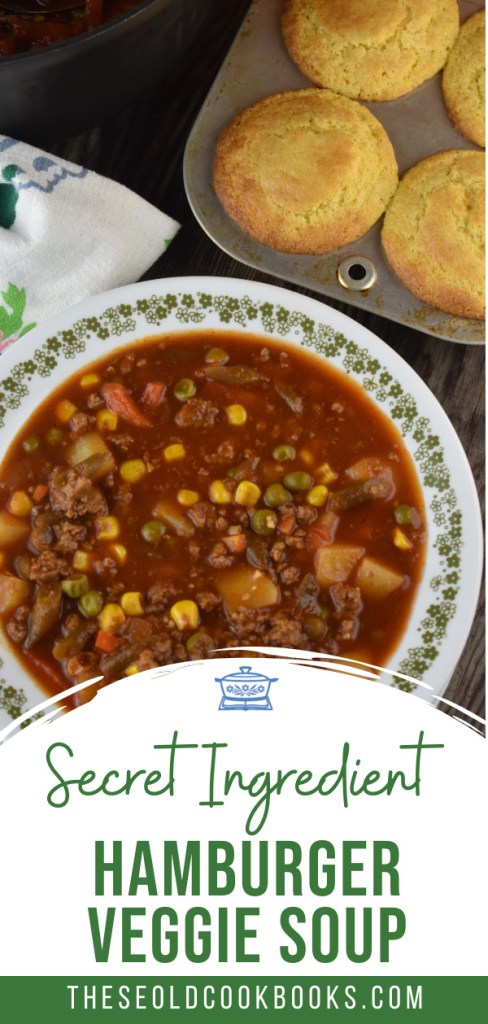 With 5 simple ingredients, you can have a warm, hearty, family-pleasing soup on the table.  Hamburger Vegetable Soup with V8 Juice is the perfect meal for hungry kids and adults. Using a bottle of V8 and a bag of frozen vegetables makes this meal totally doable for a busy weeknight.
