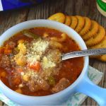 Crock Pot Minestrone with Cubed Beef is a one-pot meal that feeds a crowd. This Italian-inspired soup recipe uses beef stew meat for a hearty minestrone packed with vegetables and beans.