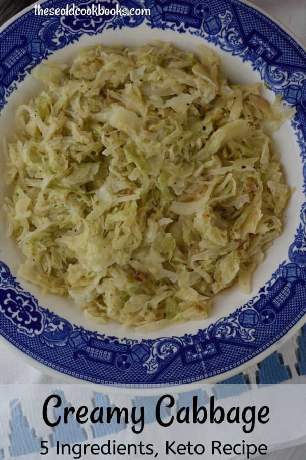 Looking for a new favorite side dish? Try Creamy Cabbage with only 5 Ingredients.  Shredded cabbage is sauteed in butter, and then a creamy sauce is made with heavy cream, salt and pepper.  It's easy, and it's delicious.
