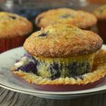 Our Blueberry Muffins from Scratch are the BEST EVER. No joke. These bakery style muffins have a crispy muffin top that is sprinkled with nutmeg and sugar before baking, and the center is a soft and delicate just like a muffin should be.