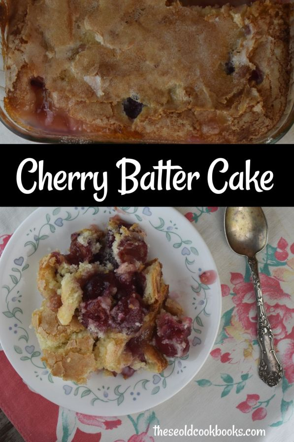 Cherry Batter Cake is so much fun to make! Fresh cherries are topped with cake batter and then sprinkled with a special sugar mixture that forms a magic crust. The result is a perfect crunchy cake topping over a light and airy cherry cake.