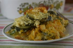 Sour Cream Zucchini Casserole is an easy side dish that combines a creamy, cheesy zucchini base with a crunchy Ritz cracker topping.