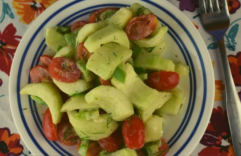 Tomato Cucumber Salad with Dill Dressing is the perfect way to use up garden veggies.  The homemade dill dressing is packed with flavor.  Add this side dish to any summer meal.