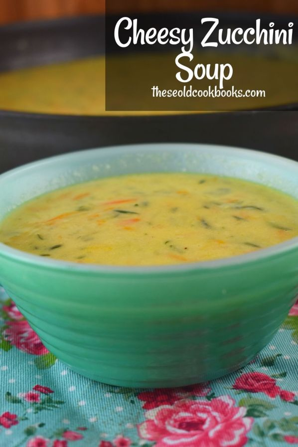 It's easy, it's cheesy, and it's a great way to use up some of your excess zucchini.  Cheesy Zucchini Soup is light enough for the summer months, or freeze your zucchini during summer, and pull it out for this recipe.