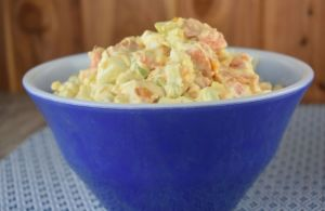 Sweet Potato Salad with Canned Yams is as easy as it is delicious. Starting with canned sweet potatoes is a super time-saver, and the result is a slightly sweet and very special cold potato salad.
