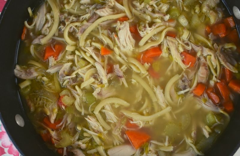 Aunt Peggy's Chicken Noodle Soup is a from-scratch recipe that starts with a whole chicken. The flavors are authentic and old fashioned, and it's certainly good for your soul on a cold winter day.