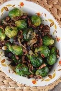 How do you get kids to eat their Brussel sprouts?  Make these Brussel sprouts with bacon and pecans!  Nutty Brussel Sprouts will change your opinion of these humble vegetables from yucky to yummy.
