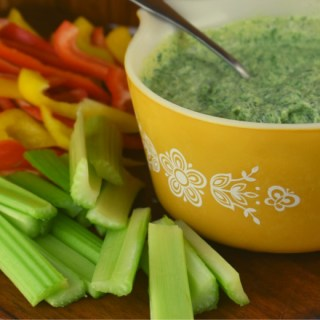 Frozen Spinach Dip is perfect with your favorite vegetables like celery or peppers.