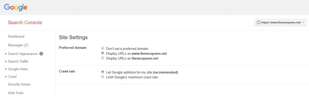 Set Your Preferred Domain in Google Webmaster Tools