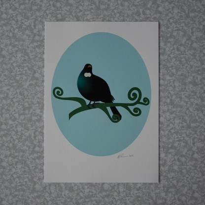 unframed illustration of a Tui