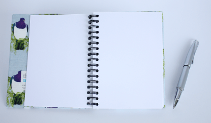 Product photograph showing the visual diary open, with a pen for context.