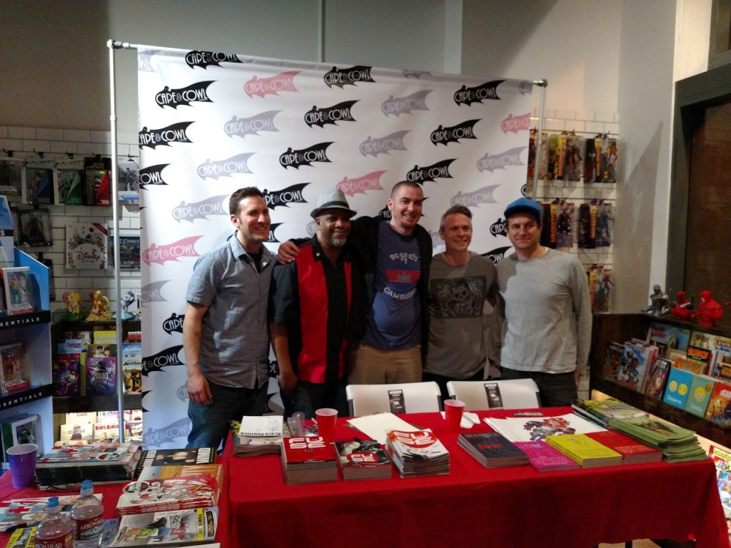 From left to right: Comic and Cowl owner Eitan Manhoff, Jimmie Robinson, Justin Greenwood, Brad Simpson, and Nick Dragotta