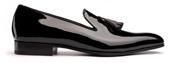 JM Weston whole cut loafer with tassel patent
