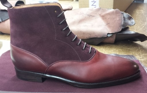 Wedgwood Boot in Burgundy Calf/Burgundy Suede
