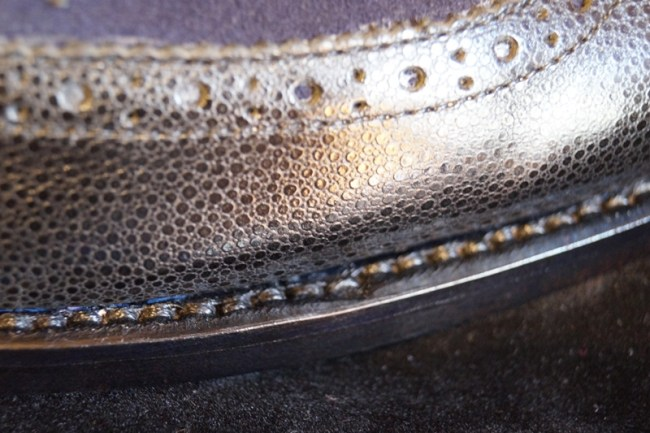 a bit of a wonky stitch on the sole, but not really a bid deal or anything...the quality doesn't change for this..it happens in handmade shoes!
