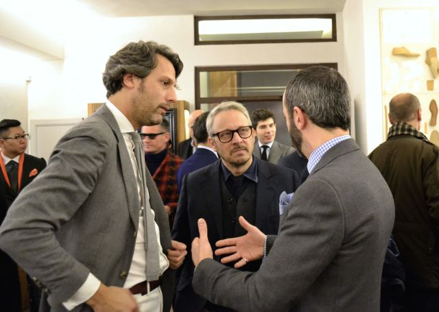 Tony Gaziano exchanging ideas with Pierre Corthay and Francois Pourcher. Picture courtesy of Permanent Style