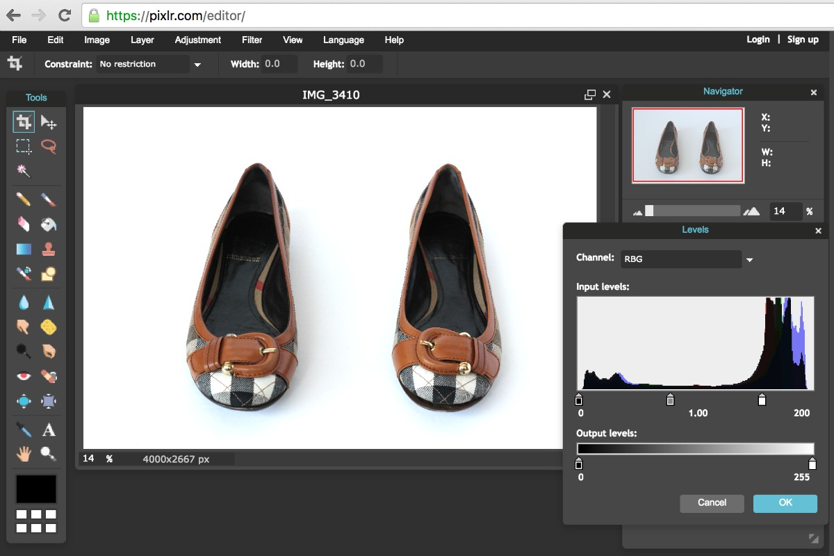 Using Pixlr to Edit White Background in Product Photos-Adjust