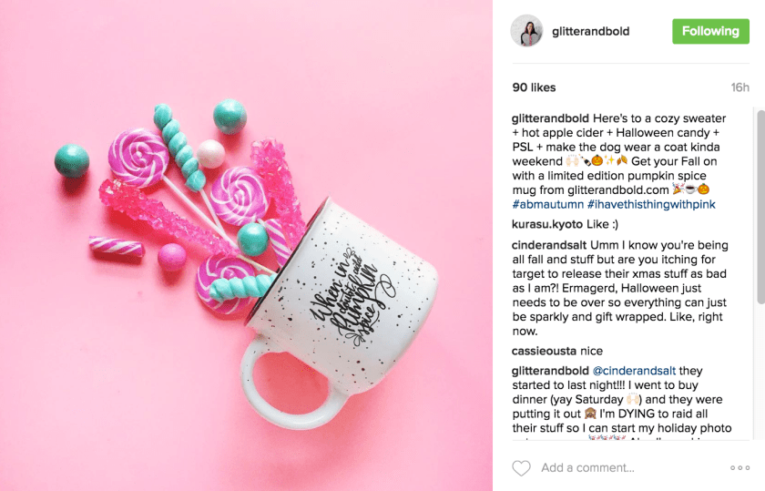 Engaging Instagram Captions - love Brittany's account @glitterandbold for fun engaging caption ideas
