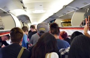 standing up in plane