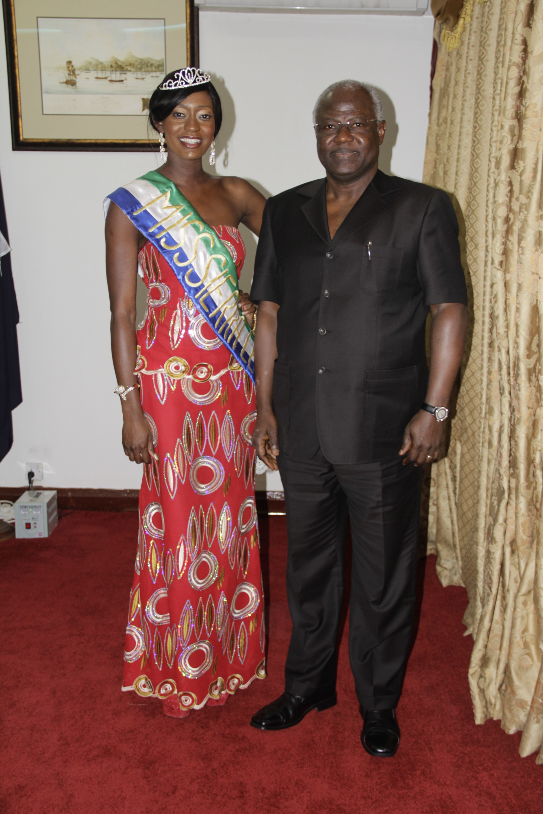 president Koroma & beauty queen