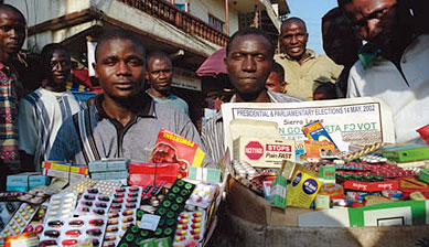 street hawkers selling fake cheap drugs
