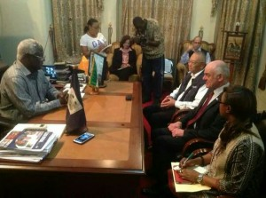 Ebola - president koroma with Un chief in president