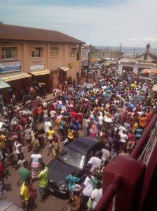 riot in freetown - 9 oct 2014