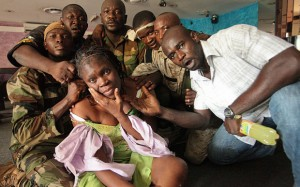Mrs Simone Gbagbo at the hands of Ivorian opposition militia