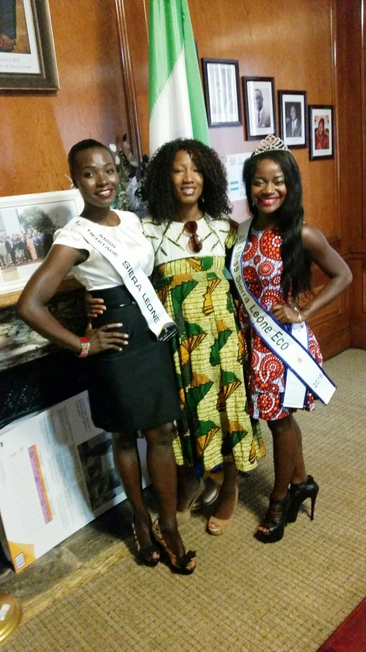 From right to left Ruby B  Johnson Dr  Fuambai Sia Ahmadu and Ms  Ramzhain Suma former Miss Sierra Leone Heritage